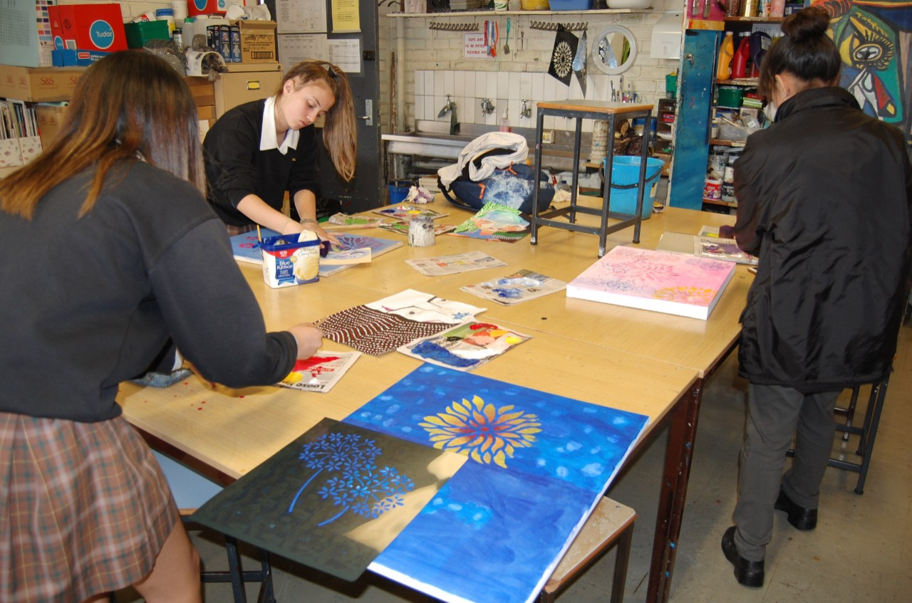 Senior students working on their major art works.